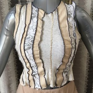 Tops - Sexy Crop Top with Lace Inserts - Size Small